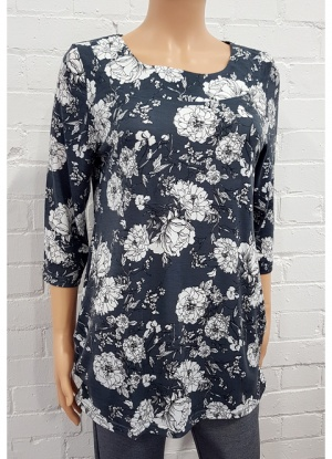 Grey Rose Print Top
