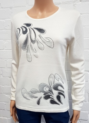 Claudia C Swirl Flock And Diamante Jumper