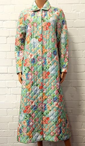 Full length Quilted Aqua Floral Housecoat