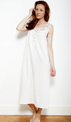 Nora Rose Cream Bobble And Lace Nightdress
