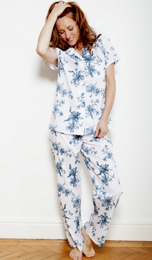 Nora Rose Blue Floral Bobble Pyjama