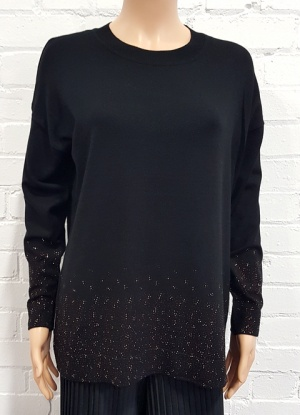 Diamante Detail Black Jumper