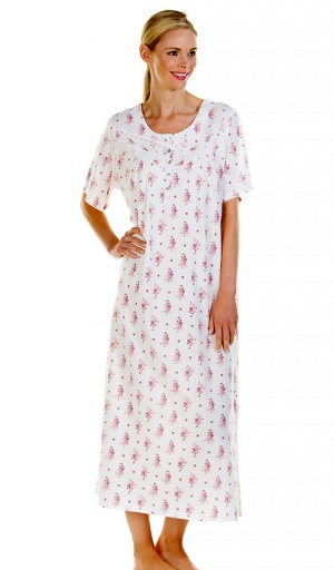 La Marquise Cotton Rich Long Length Short Sleeve Nightdress