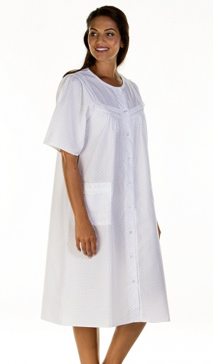 La Marquise Lace and Dot Button Through Nightdress