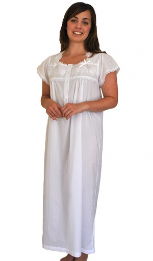 Pure Cotton Short Sleeve Square Neck Nightdress