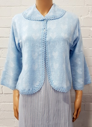 Lux Lux Brushed Collar Buttoned Bed Jacket