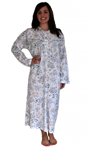 Long Sleeve Pure Cotton Floral Print Nightdress