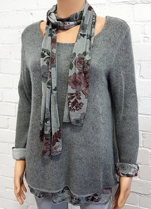 Minx Double Layer Jumper with Scarf