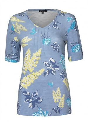 Emreco Floral Print V Neck Top