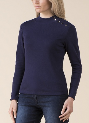 Emreco High Neck Button Detail Top