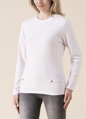 Emreco Round Neck Button Detail Jumper