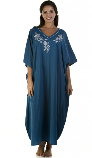 La Marquise Embroidered V Neck Kaftan