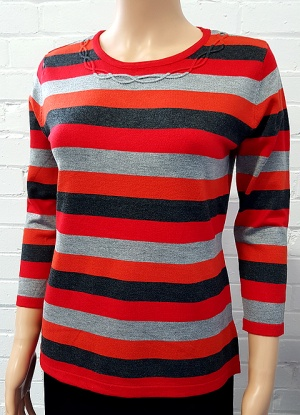 Claudia C Neck Detailed Stripe Jumper