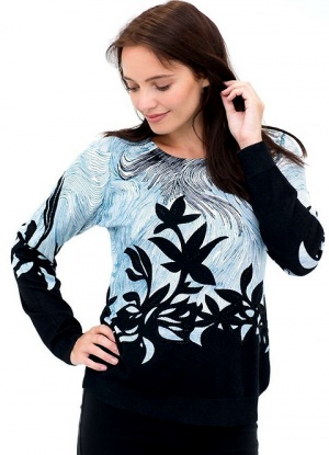 MudFlower Studded Leaf Print Jumper