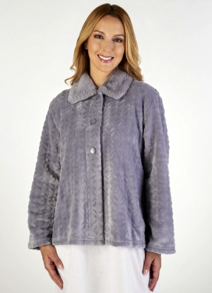 Slenderella Luxury Jacquard Fleece Bed Jacket