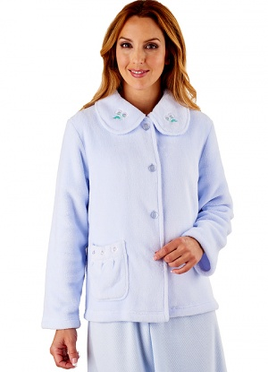 Slenderella Embroidered Fleece Bed Jacket
