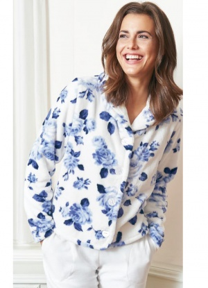 Taubert Luxury Velour Blue Rose Bed Jacket