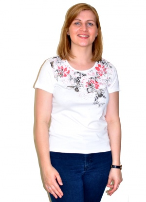 Claudia C Flower and Butterfly Print T-shirt