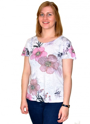 Claudia C Floral and Lace Detail T-shirt