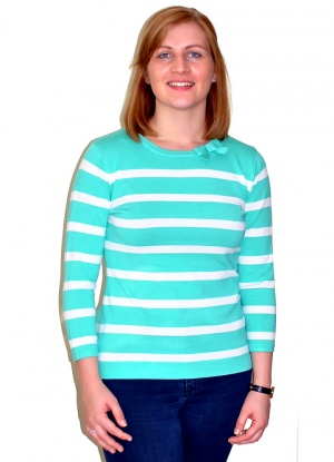 Claudia C Bow Neck Stripe Jumper