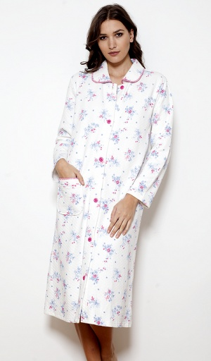 Cottonreal 100% Cotton Floral Button Housecoat