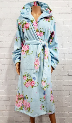 Cottonreal Floral Fleece Grace Hooded Robe