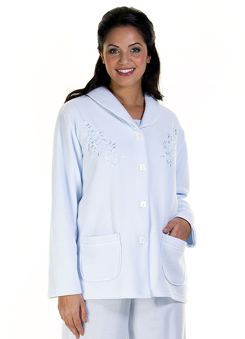 La Marquise Embroidered Front Bed Jacket