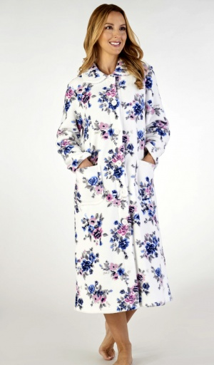 Slenderella Rose Print Fleece Housecoat