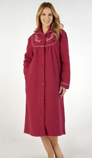 Slenderella Fleece Embroidered Yoke Housecoat
