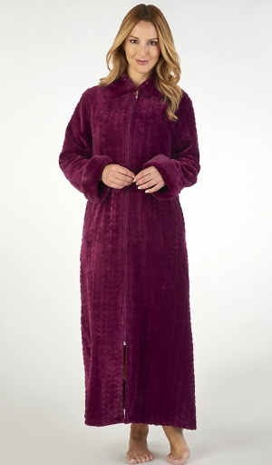 Slenderella Luxury Velour Fleece Zip Housecoat