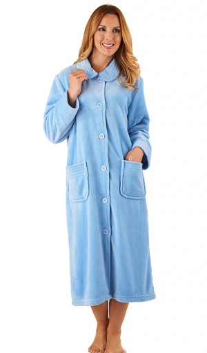 Slenderella Velour Fleece Collared Button Housecoat