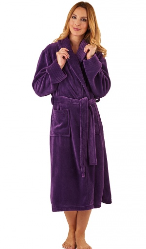 Slenderella Velour Fleece Collared Dressing Gown