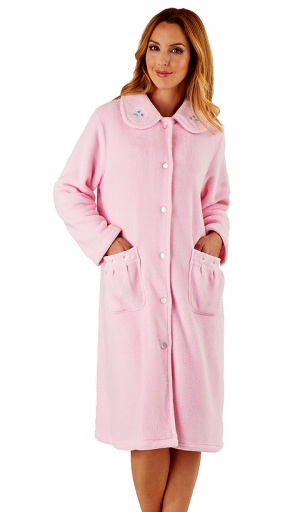 Slenderella Embroidered Fleece Housecoat
