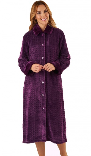 Slenderella Luxury Velour Fleece Button Housecoat