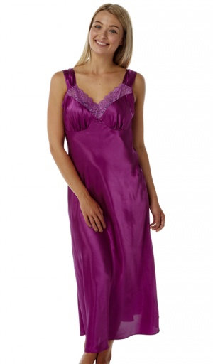 Marlon Plain Satin Full length Strappy Nightdress