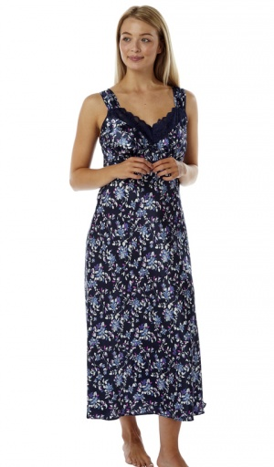Marlon Satin Full length Strappy Floral Nightdress