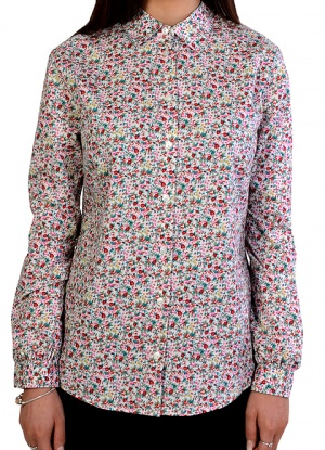 Double Two Long Sleeve Rose Print Blouse