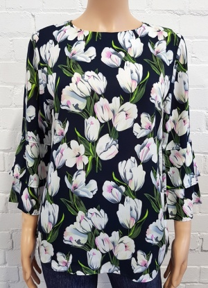 Double Two Tulip Print Top