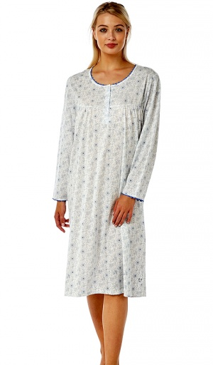 Marlon Floral Poly Cotton Long Sleeve Nightdress