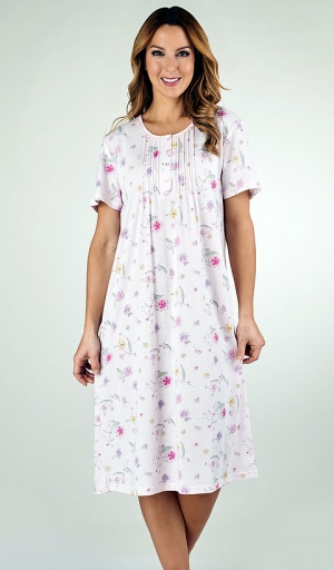 Slenderella Jersey Short Sleeve Pin-Tuck Nightdress