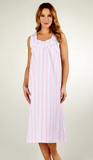 Slenderella Stripe Seersucker Wide Strap Nightdress