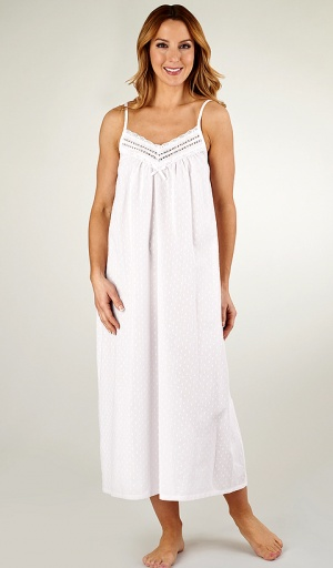 Slenderella Pure Cotton Long Strappy Bobble Nightdress