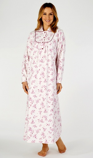Slenderella Brushed Cotton Collared Full Length Nightdress