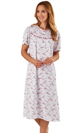Slenderella Pure Cotton Floral Short Sleeve Nightdress