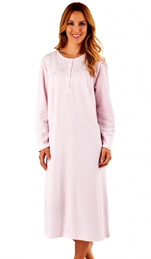 Slenderella Long Sleeve Textured Embroidered Nightdress