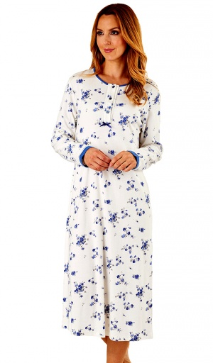 Slenderella Long Sleeve Floral Print Nightdress