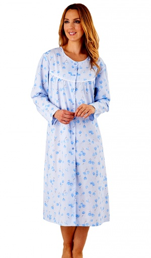 Slenderella Button Through Poly Cotton Nightdress