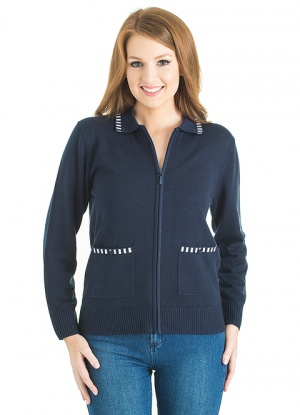 Collared Zip Up Cardigan