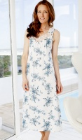 Nora Rose Blue Floral Bobble And Lace Nightdress