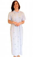 Long Length Pure Cotton Collared Nightdress